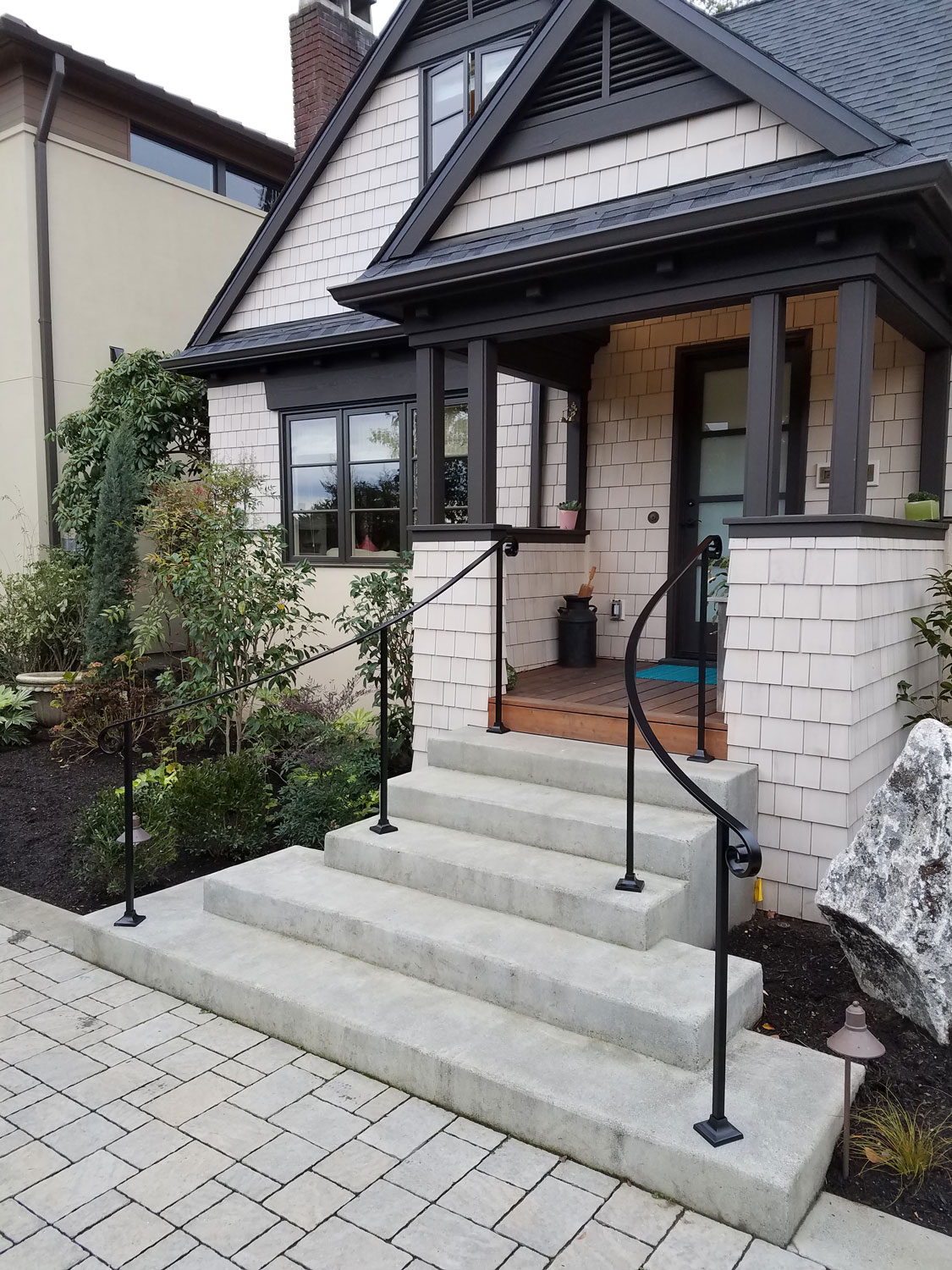 Traditional Front Entrance Railings by Blackbird Iron - Side Angle - Seattle, WA