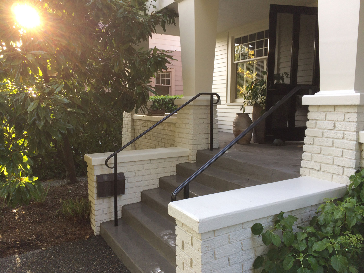 Traditional Exterior Handrail for Front Steps by Blackbird Iron - Seattle, WA