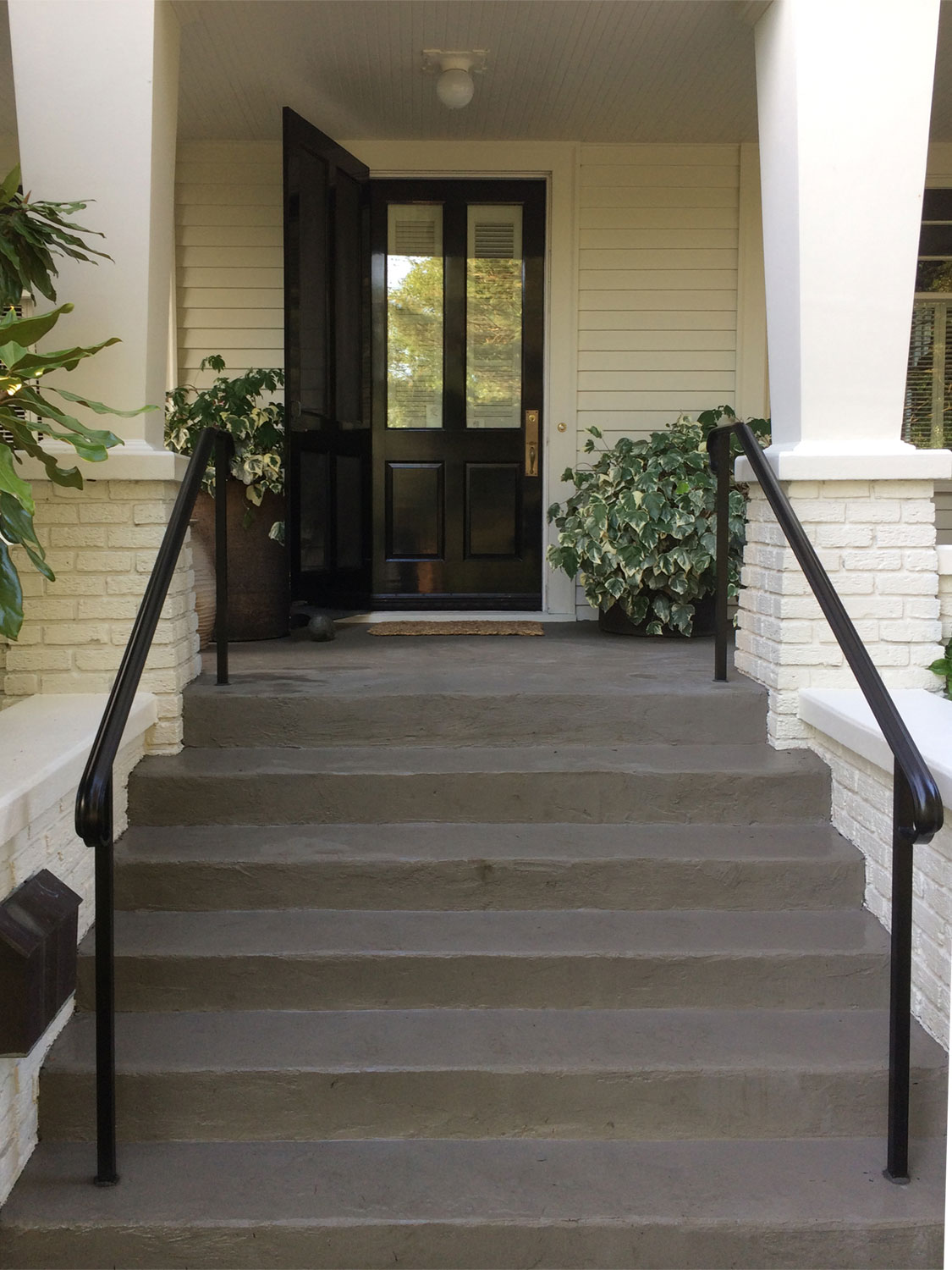 Traditional Exterior Handrail for Front Steps by Blackbird Iron