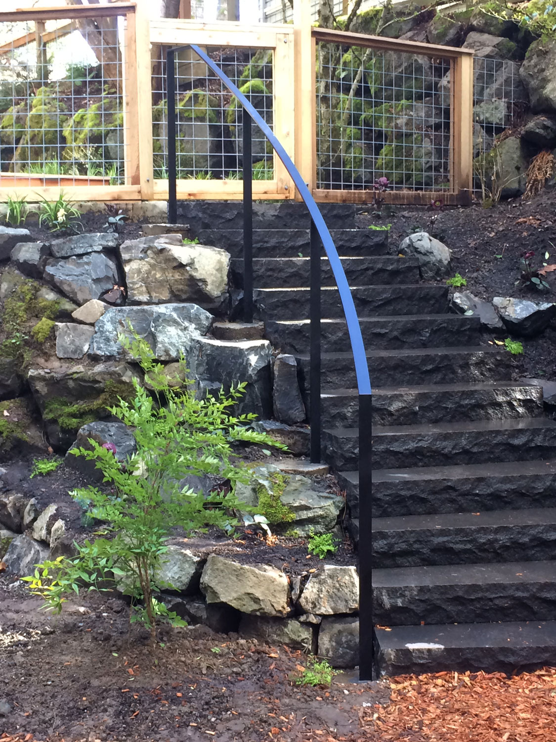 Exterior Modern Handrail for Backyard Steps by Blackbird Iron