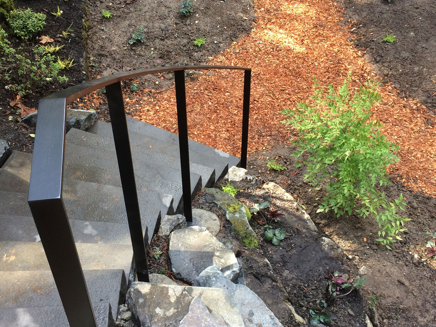 Exterior Modern Handrail for Backyard Steps by Blackbird Iron - Seattle, WA