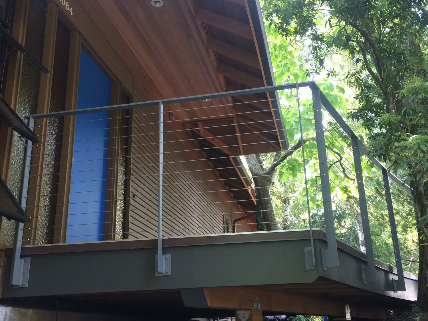 Cable Rail for Front Deck - View from Below - Seattle, WA