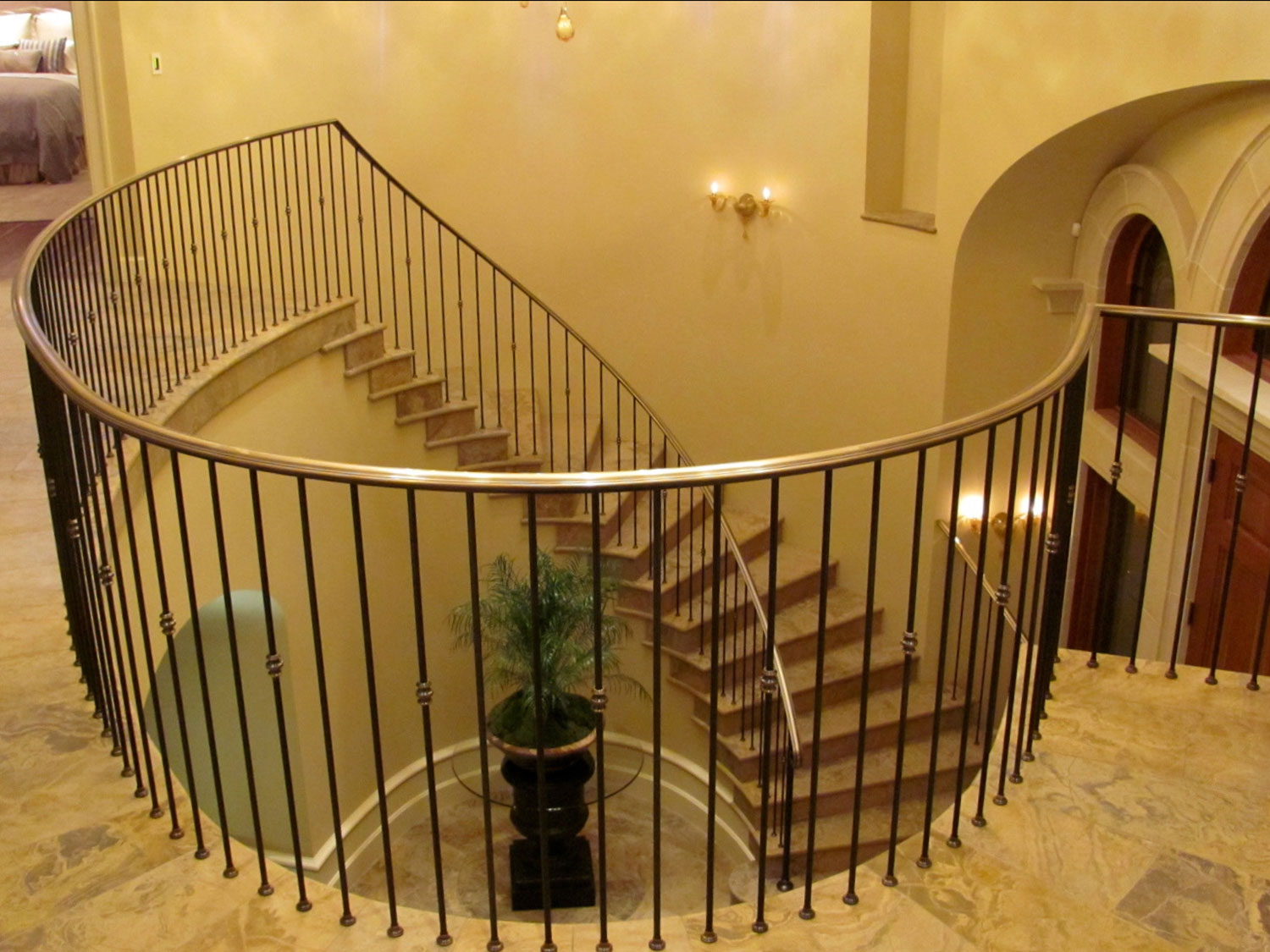 Elegant Pitch and Curved Railing - Upstairs Landing - Seattle, WA