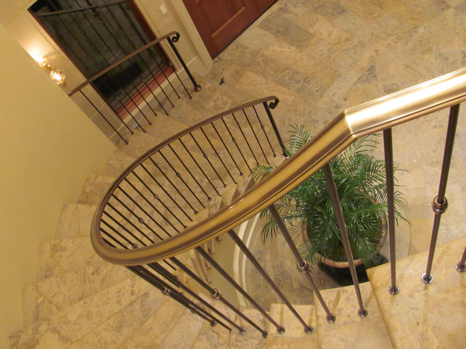 Elegant Pitch and Curved Railing - Curved Stairway - Seattle, WA