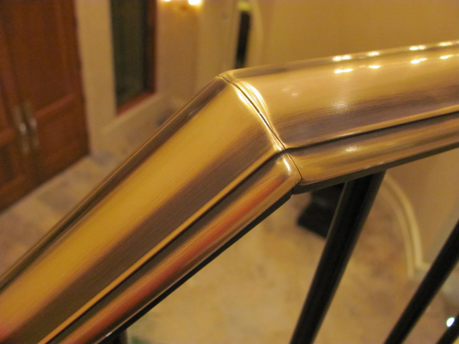 Elegant Pitch and Curved Railing - Brass Top Cap - Seattle, WA