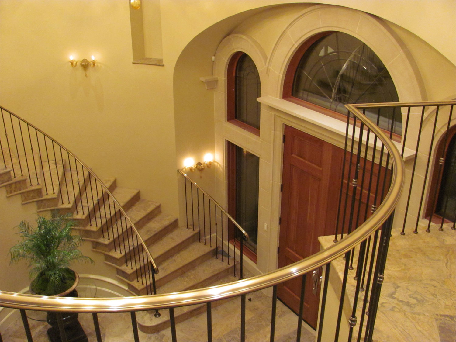 Elegant Pitch and Curved Railing - Overhead of Entranceway - Seattle, WA