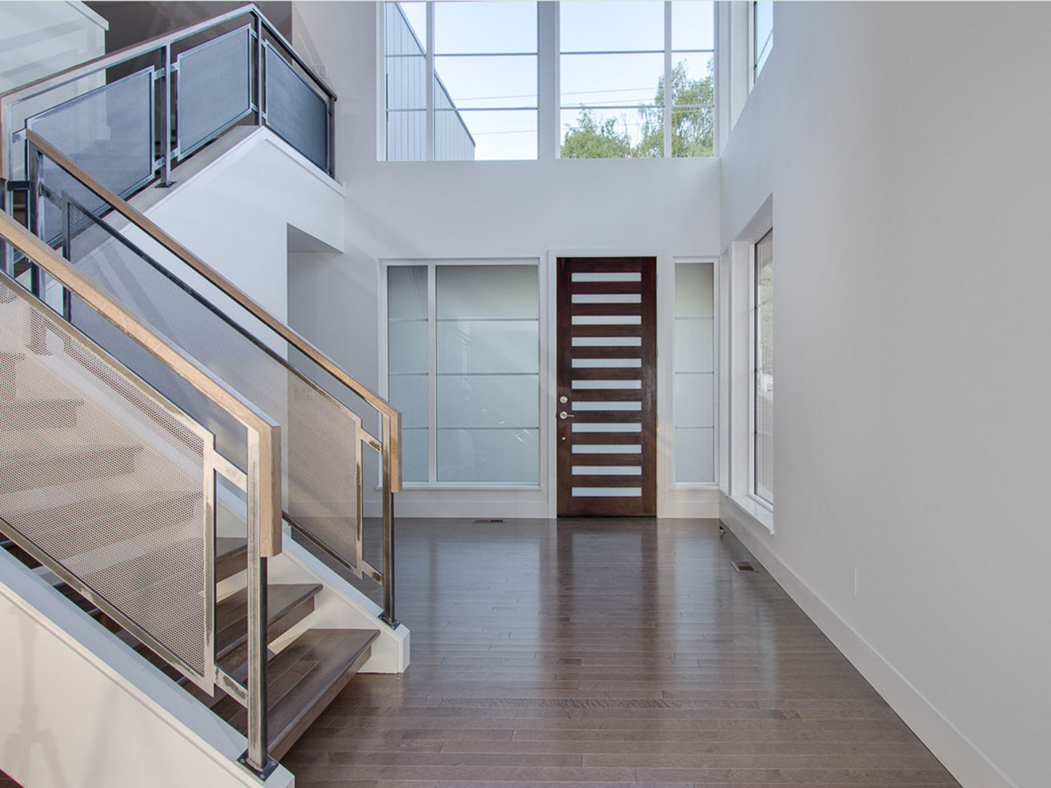 Modern Home Guardrails for Main Stairs - entranceway - Kirkland, WA