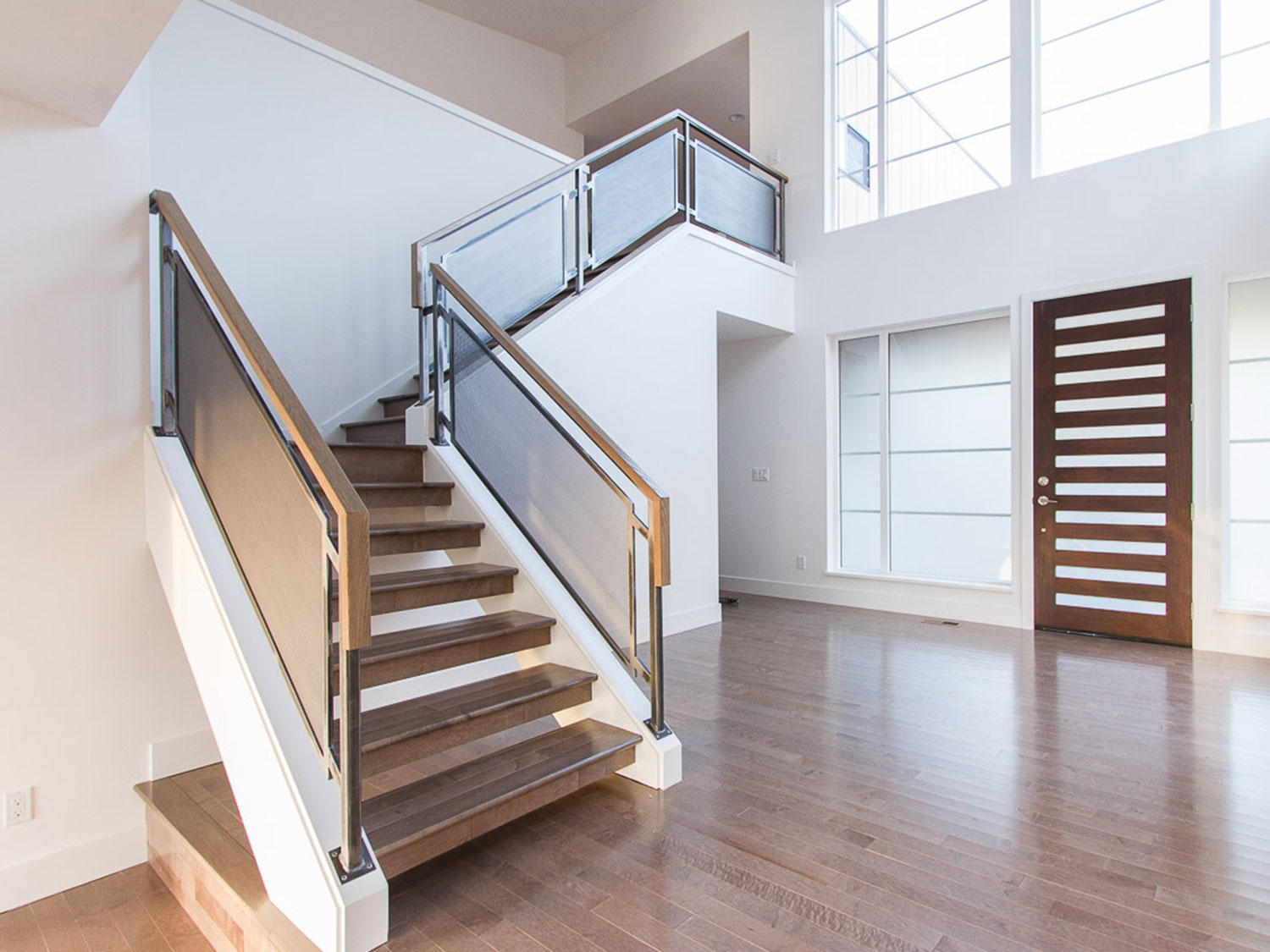 Modern Home Guardrails for Main Stairs - from living room - Kirkland, WA