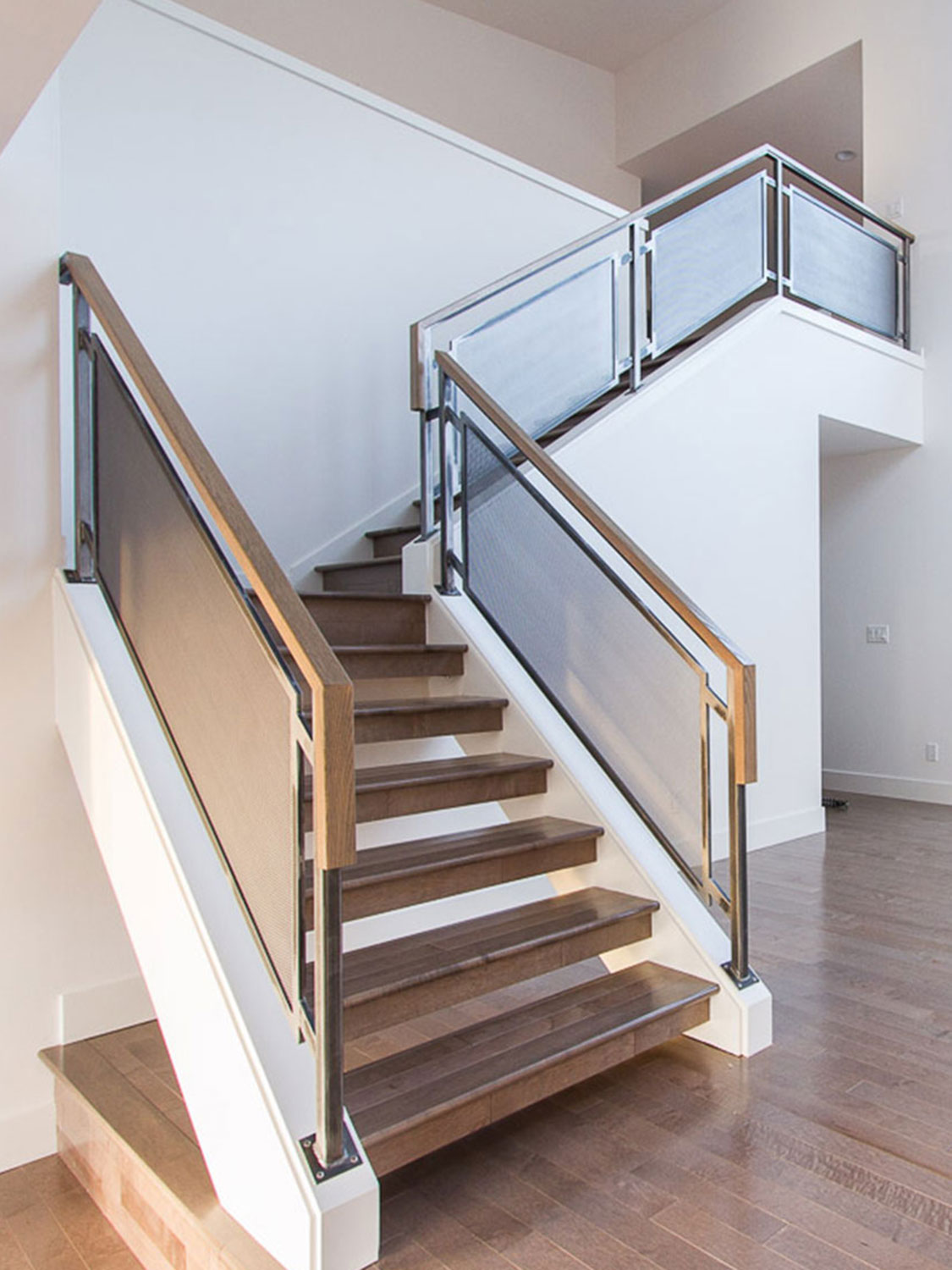 Modern Home Guardrails for Main Stairs - from bottom - Kirkland, WA