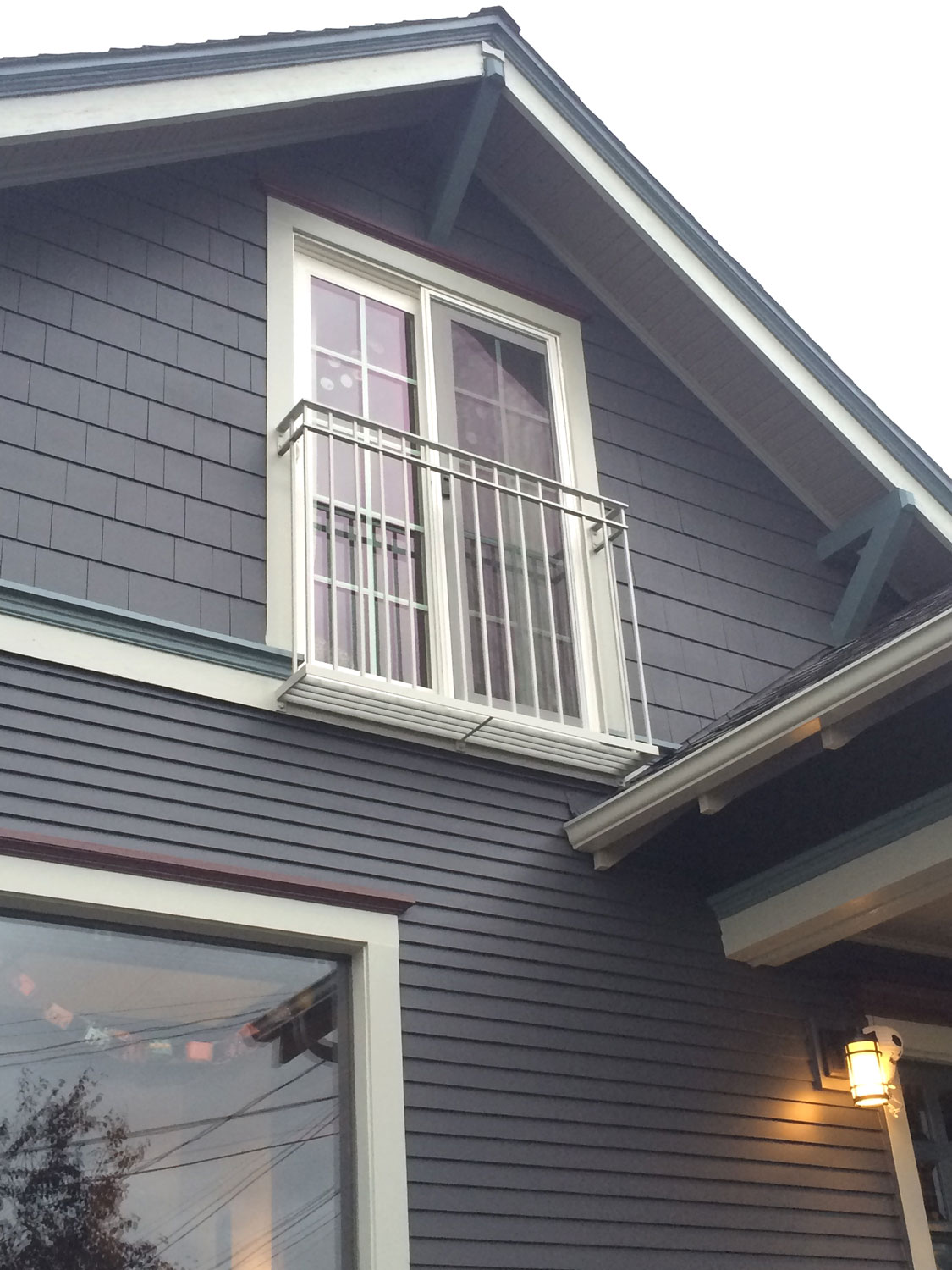 Iron Balcony Guardrail for Second Story Window - from distance - Seattle, WA