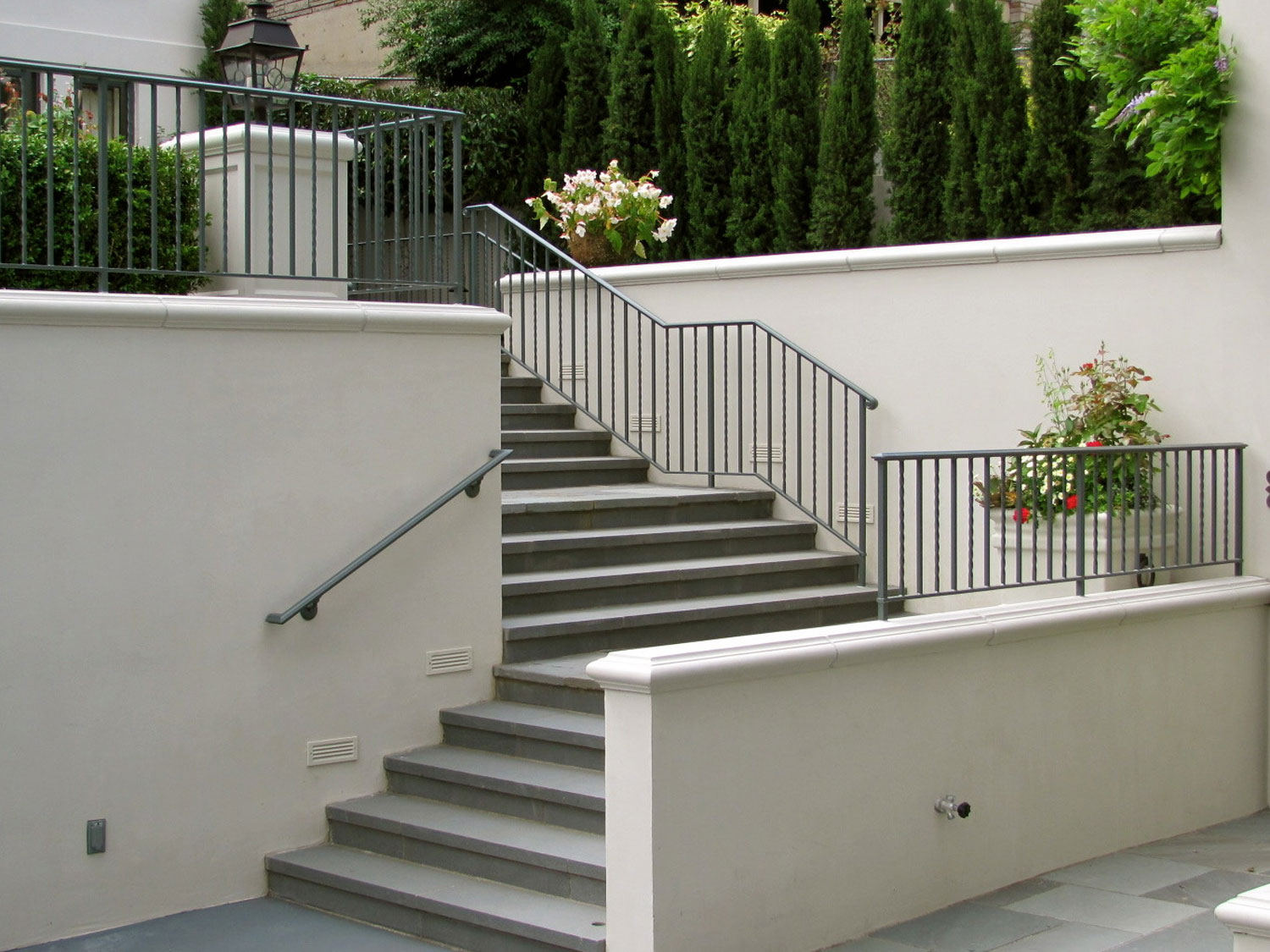 - Seattle, WAIron Handrails and Guardrails for Slate Patio - Turning Stairs