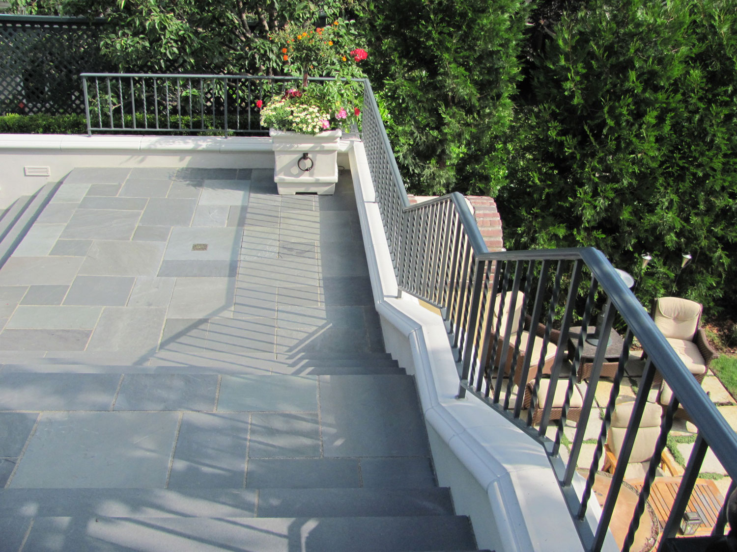 Iron Handrails and Guardrails for Slate Patio - Guardrail for Stairs - Seattle, WA