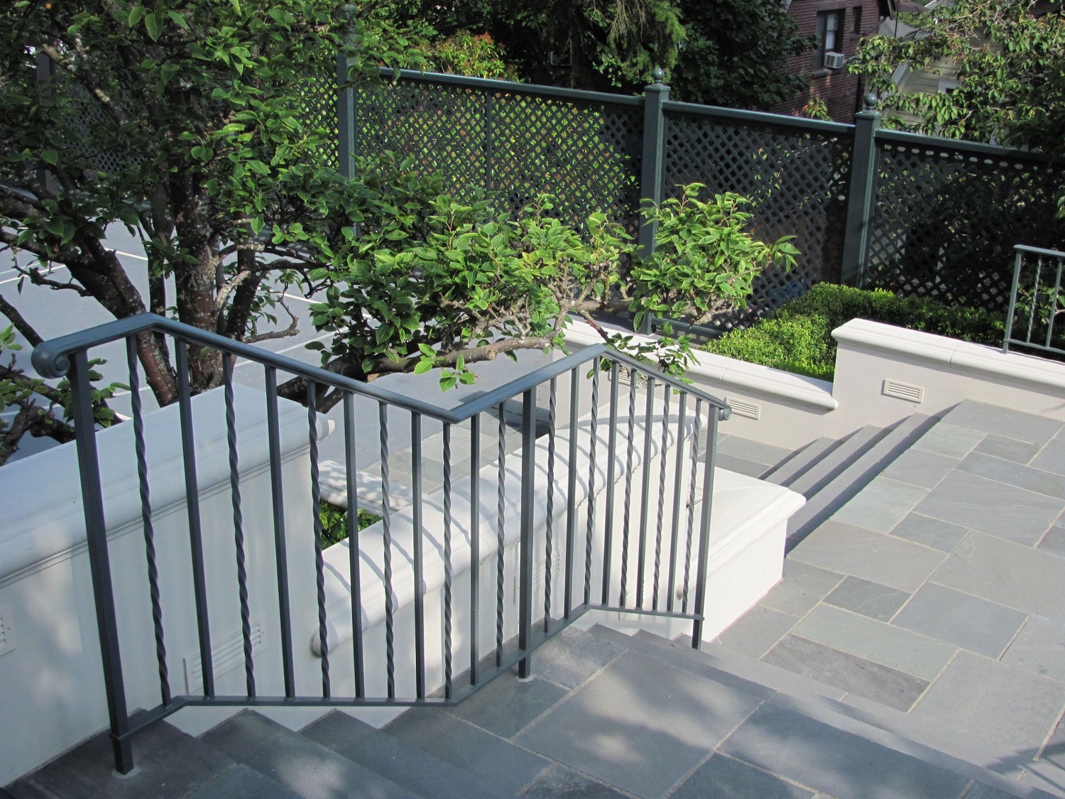 Iron Handrails and Guardrails for Slate Patio - Going Down Stairs - Seattle, WA