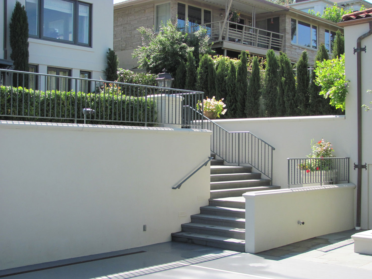 Iron Handrails and Guardrails for Slate Patio - Corner Stairs - Seattle, WA