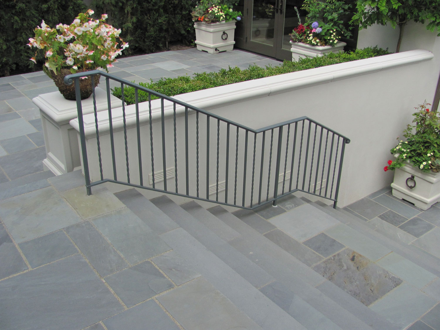 Iron Handrails and Guardrails for Slate Patio - Stairs - Seattle, WA
