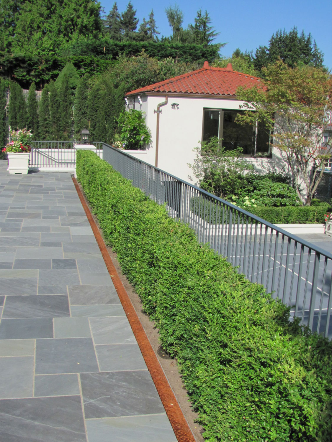 Iron Handrails and Guardrails for Slate Patio - With Shrubs - Seattle, WA
