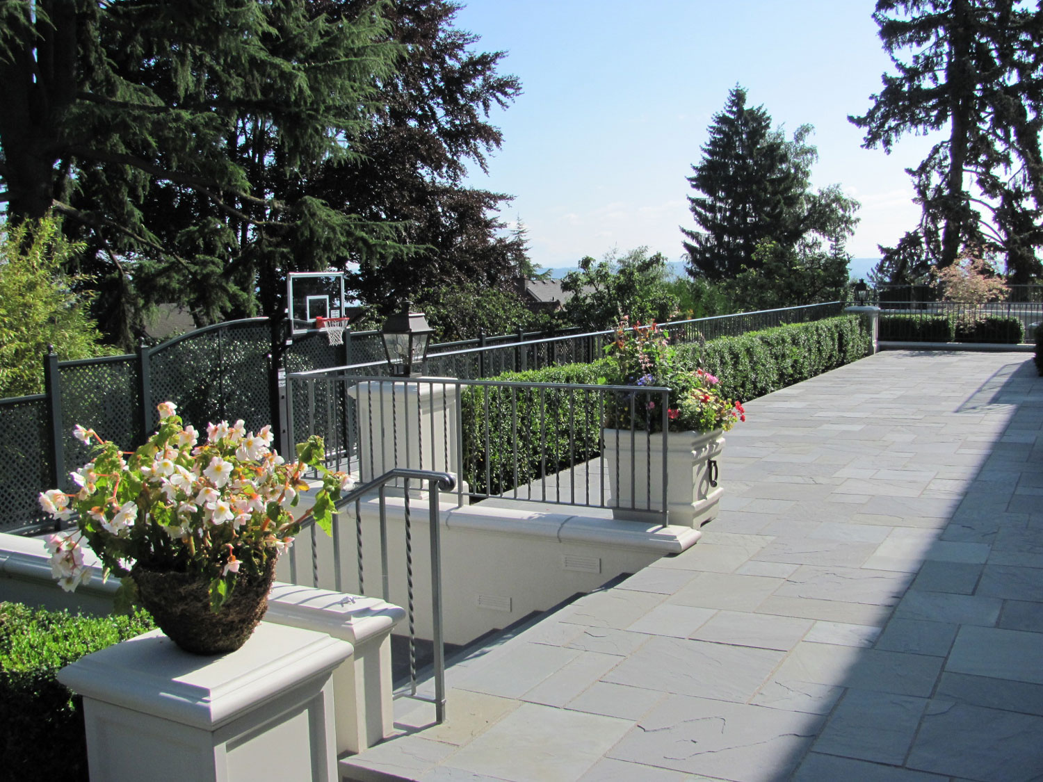 Iron Handrails and Guardrails for Slate Patio - Long View - Seattle, WA