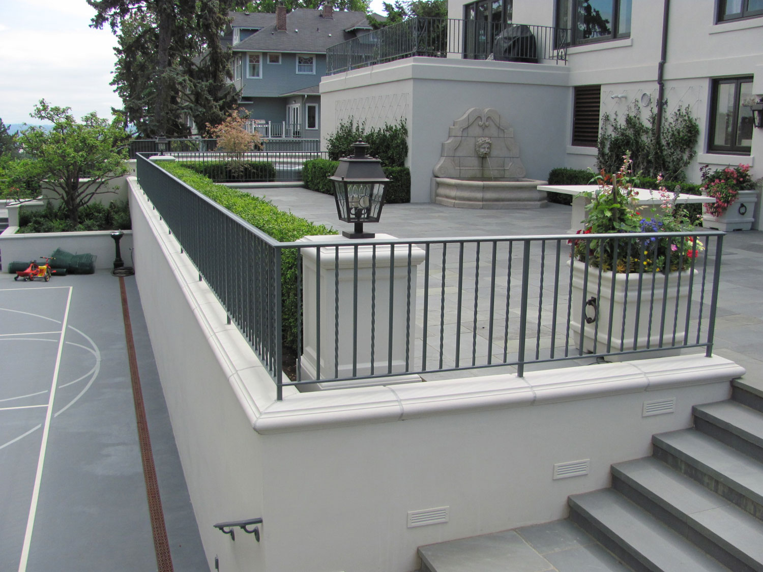 Iron Handrails and Guardrails for Slate Patio - Wrap Around Guardrails- Seattle, WA