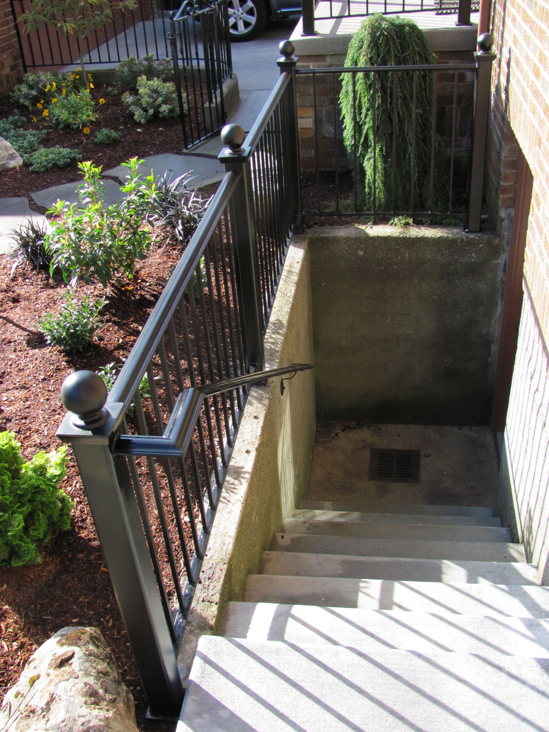 Handrail and Guardrail for Exterior Basement Steps - Going Down - Seattle, WA