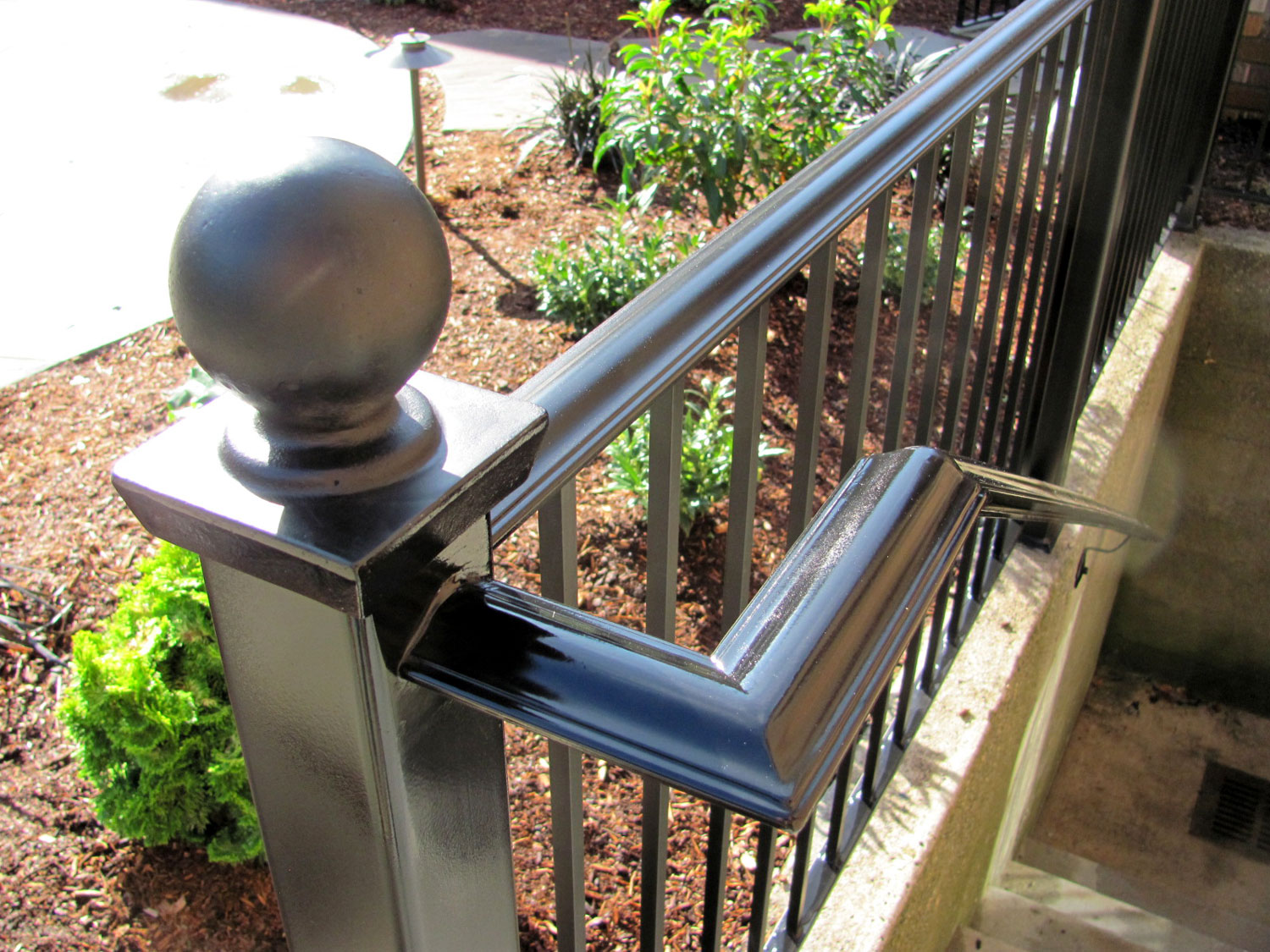 Handrail and Guardrail for Exterior Basement Steps - Closeup - Seattle, WA
