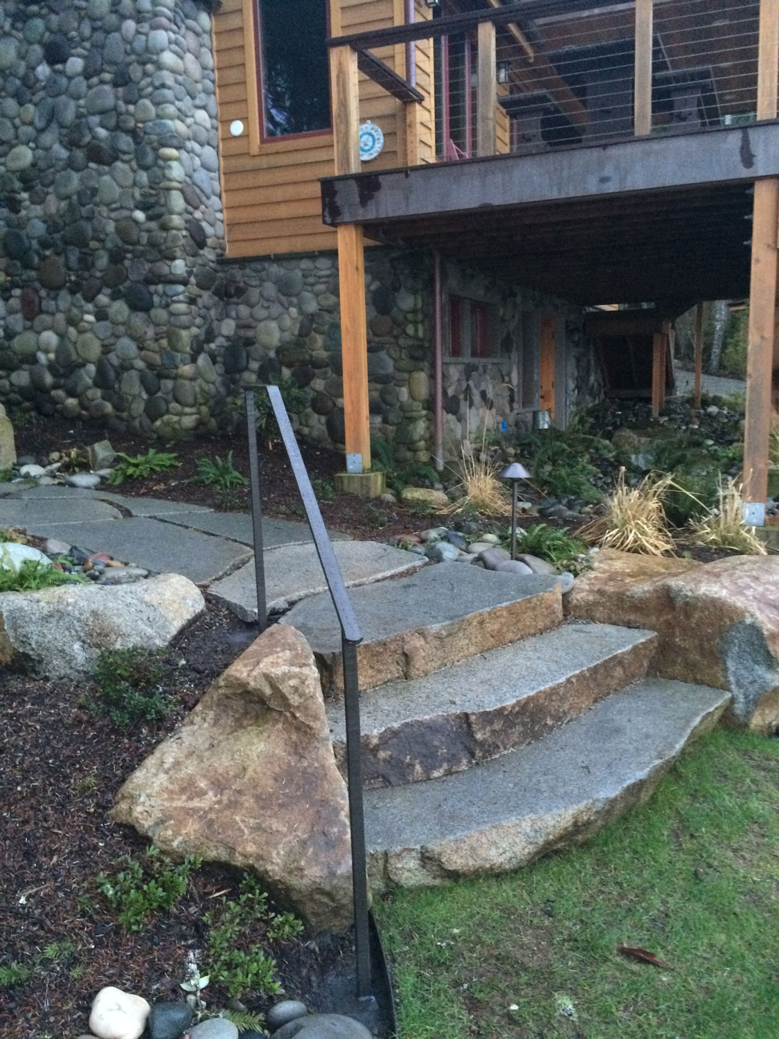 Hand Forged Iron Handrails - Bottom Steps - Seattle, WA