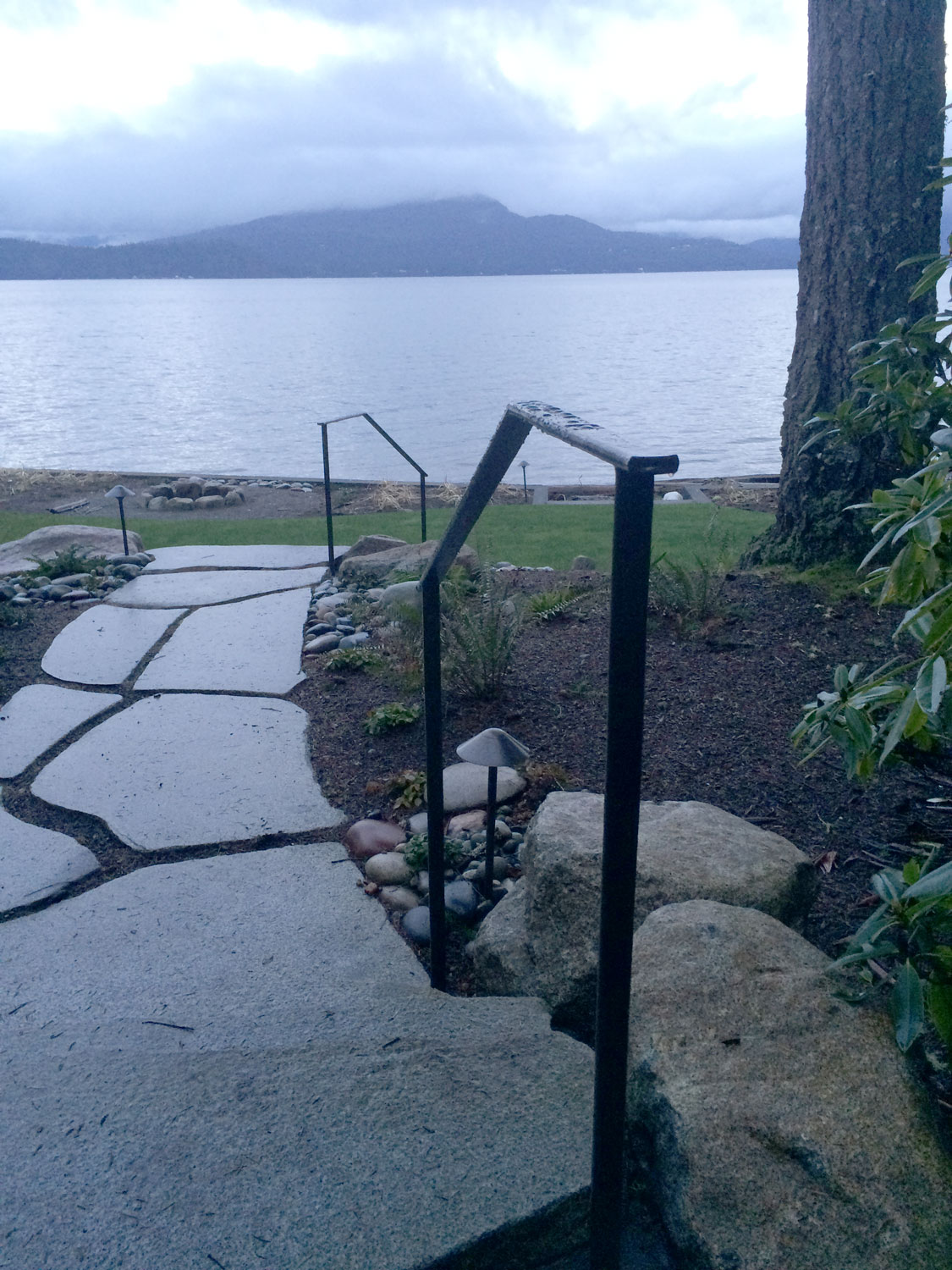 Hand Forged Iron Handrails - Along Path - Seattle, WA
