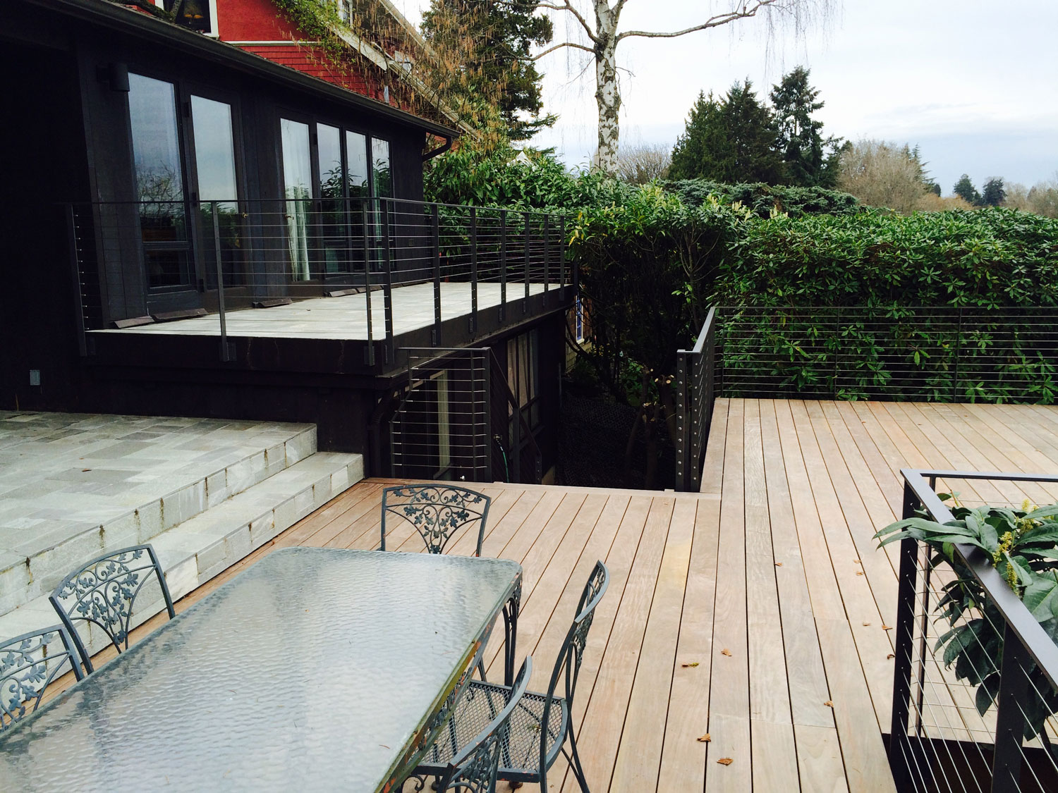 Cable Rail for Large Deck - Side View of Both Decks - Seattle, WA