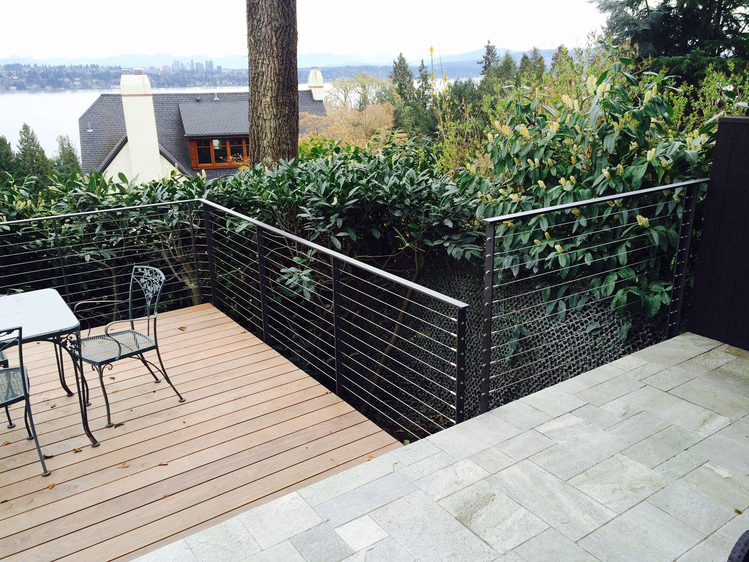 Cable Rail for Large Deck - Slate and Wood - Seattle, WA