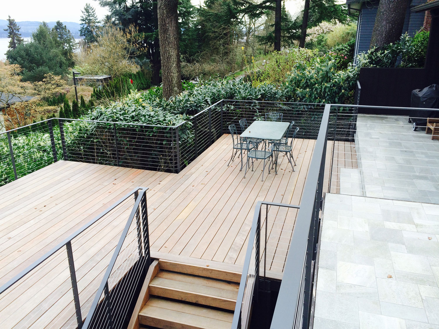 Cable Rail for Large Deck - Multiple Levels - Seattle, WA