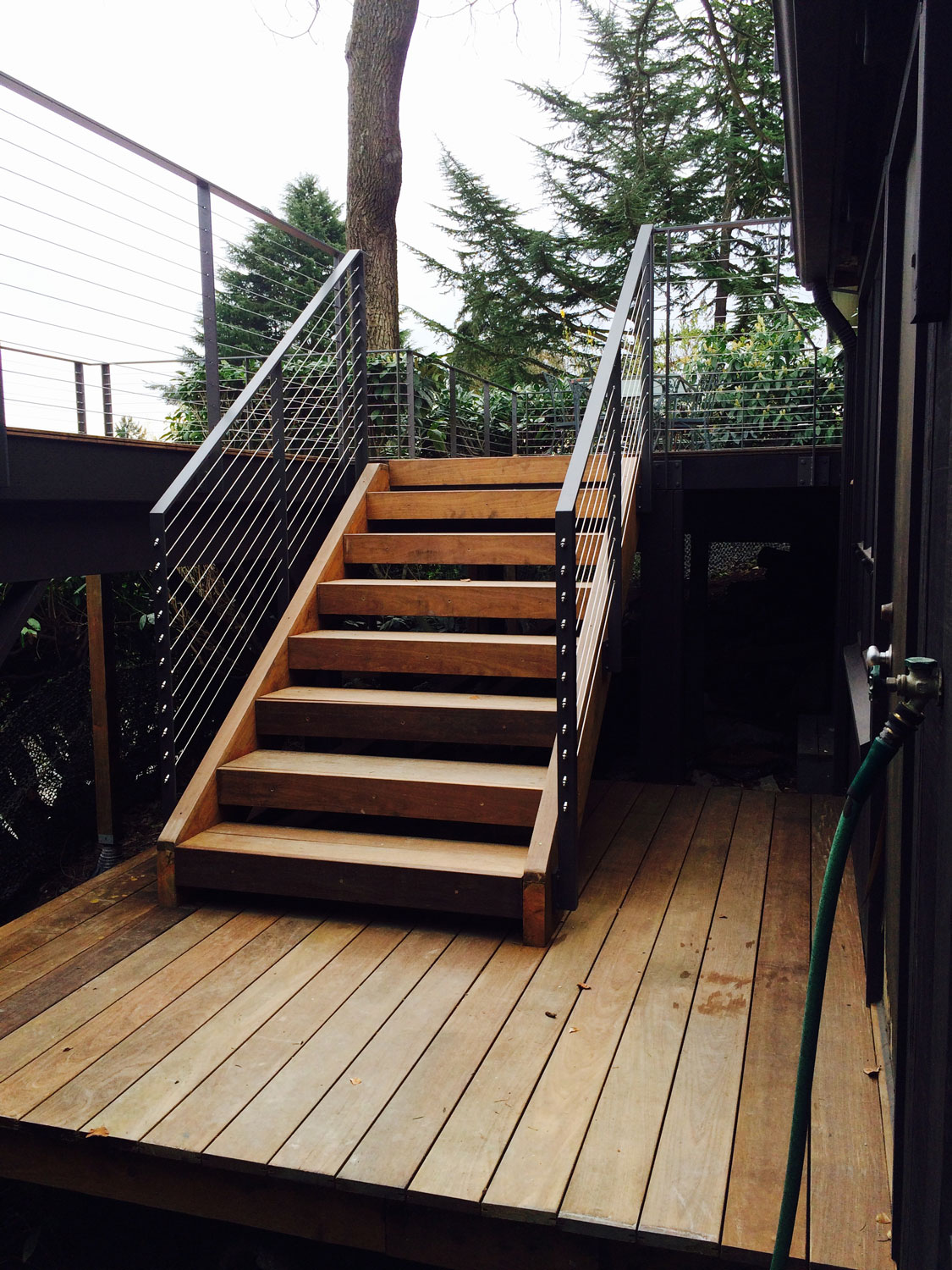 Cable Rail for Large Deck - Stairs - Seattle, WA