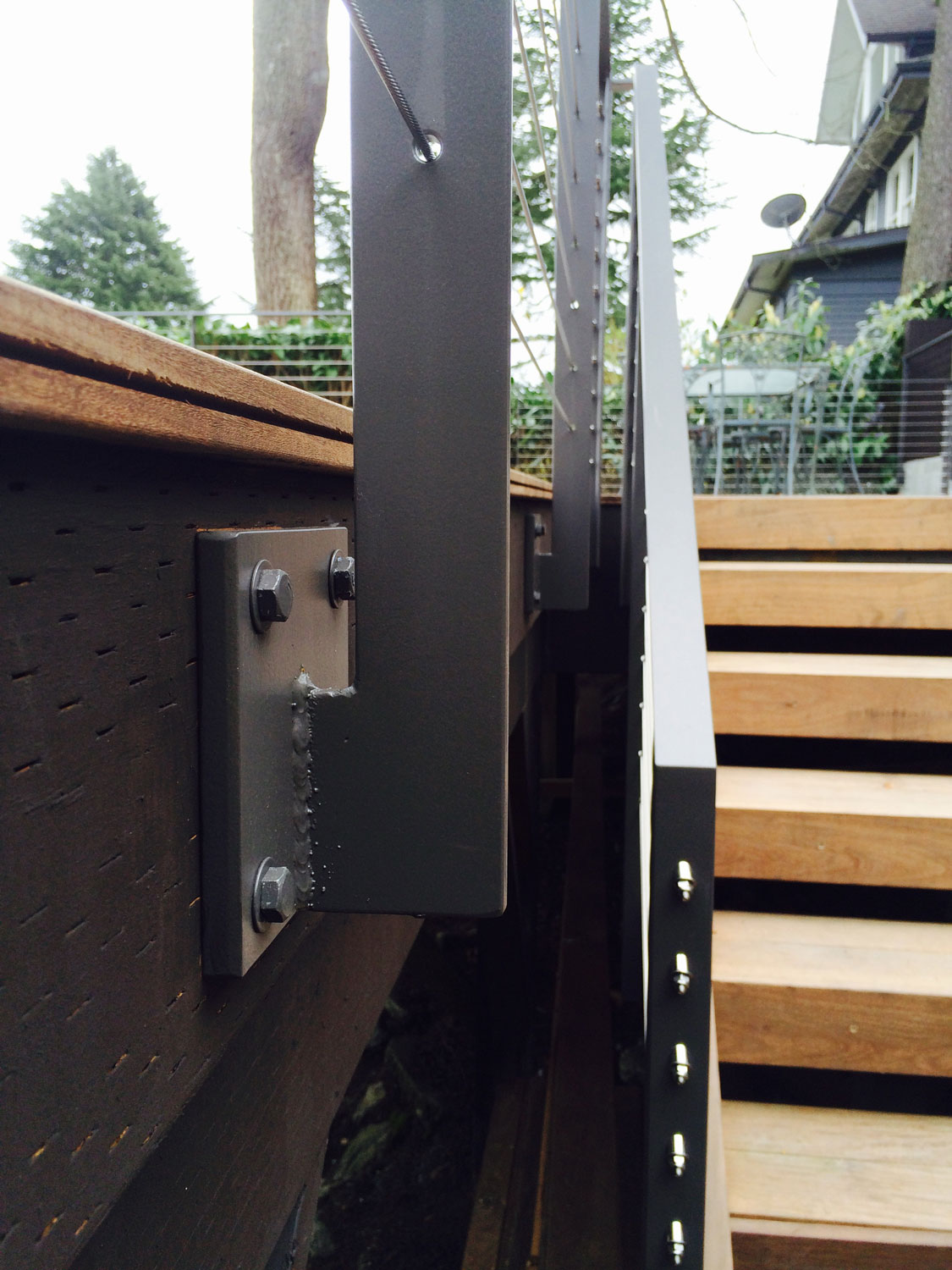 Cable Rail for Large Deck - Close Up of Mounting - Seattle, WA