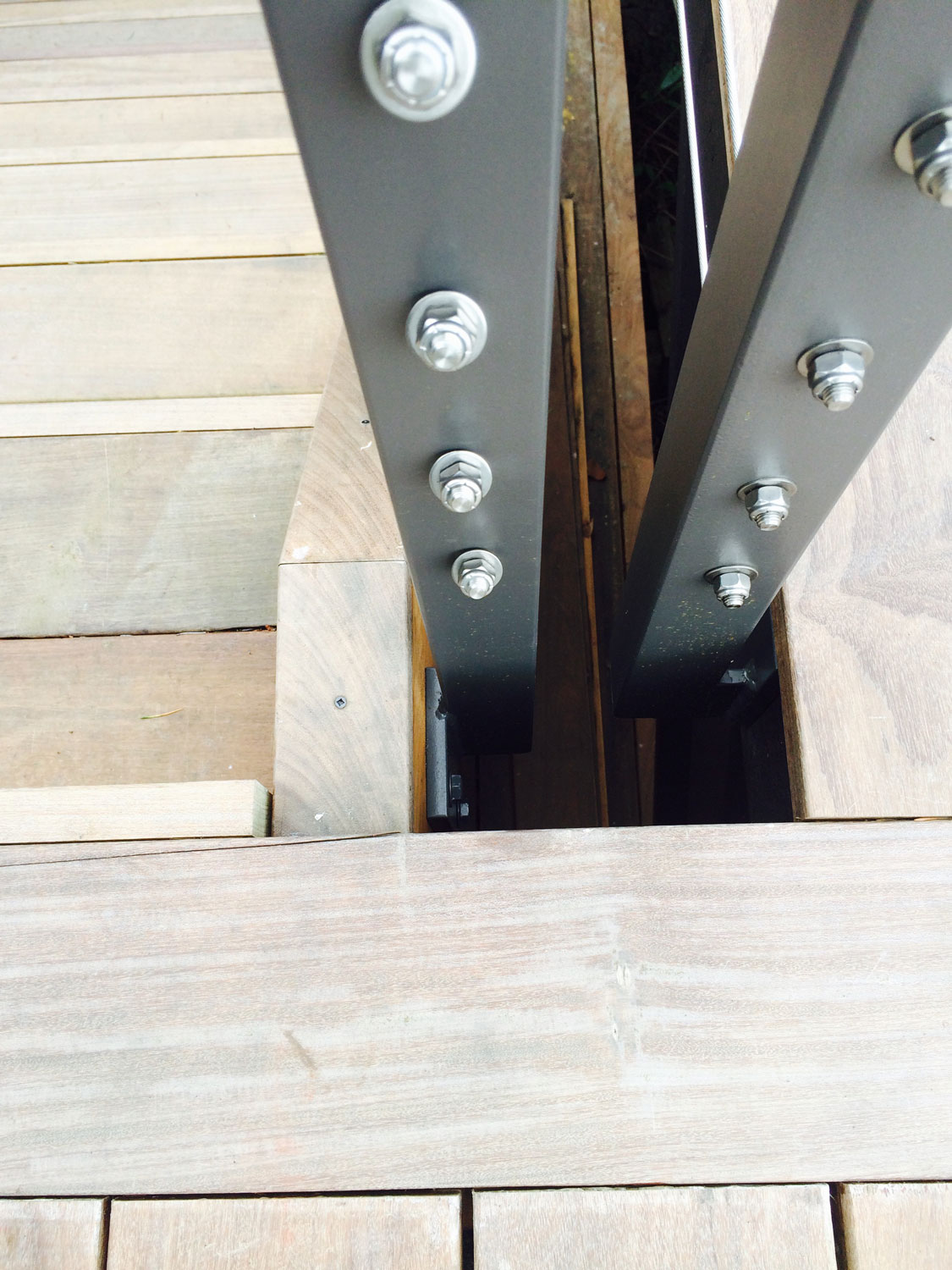 Cable Rail for Large Deck - Close Up of Stairs Joining the Railings - Seattle, WA