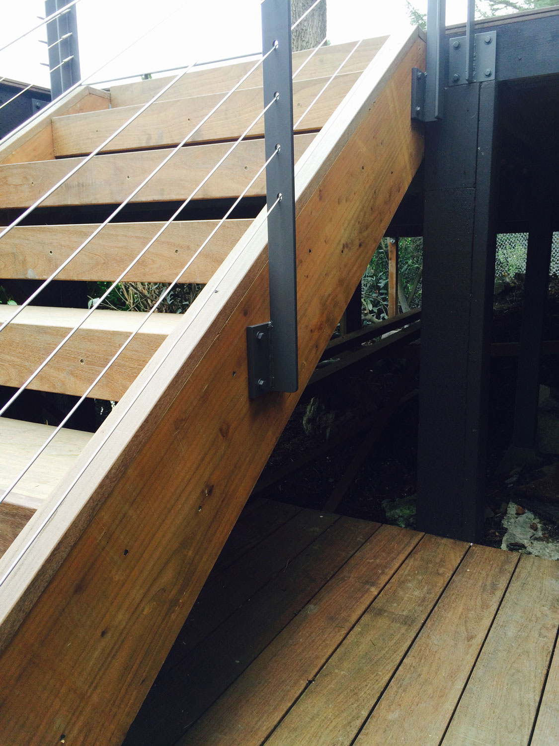 Cable Rail for Large Deck - Closeup of Stairs - Seattle, WA