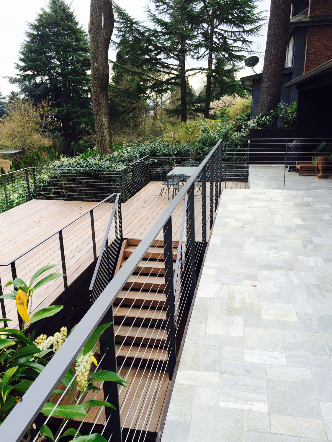 Cable Rail for Large Deck - Railings and Handrail for Stairs - Seattle, WA