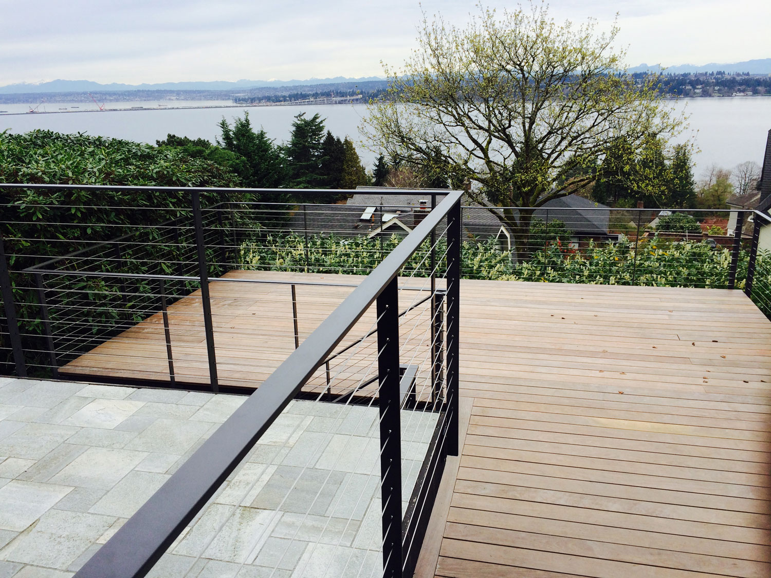 Cable Rail for Large Deck - Upper and Lower Decks - Seattle, WA