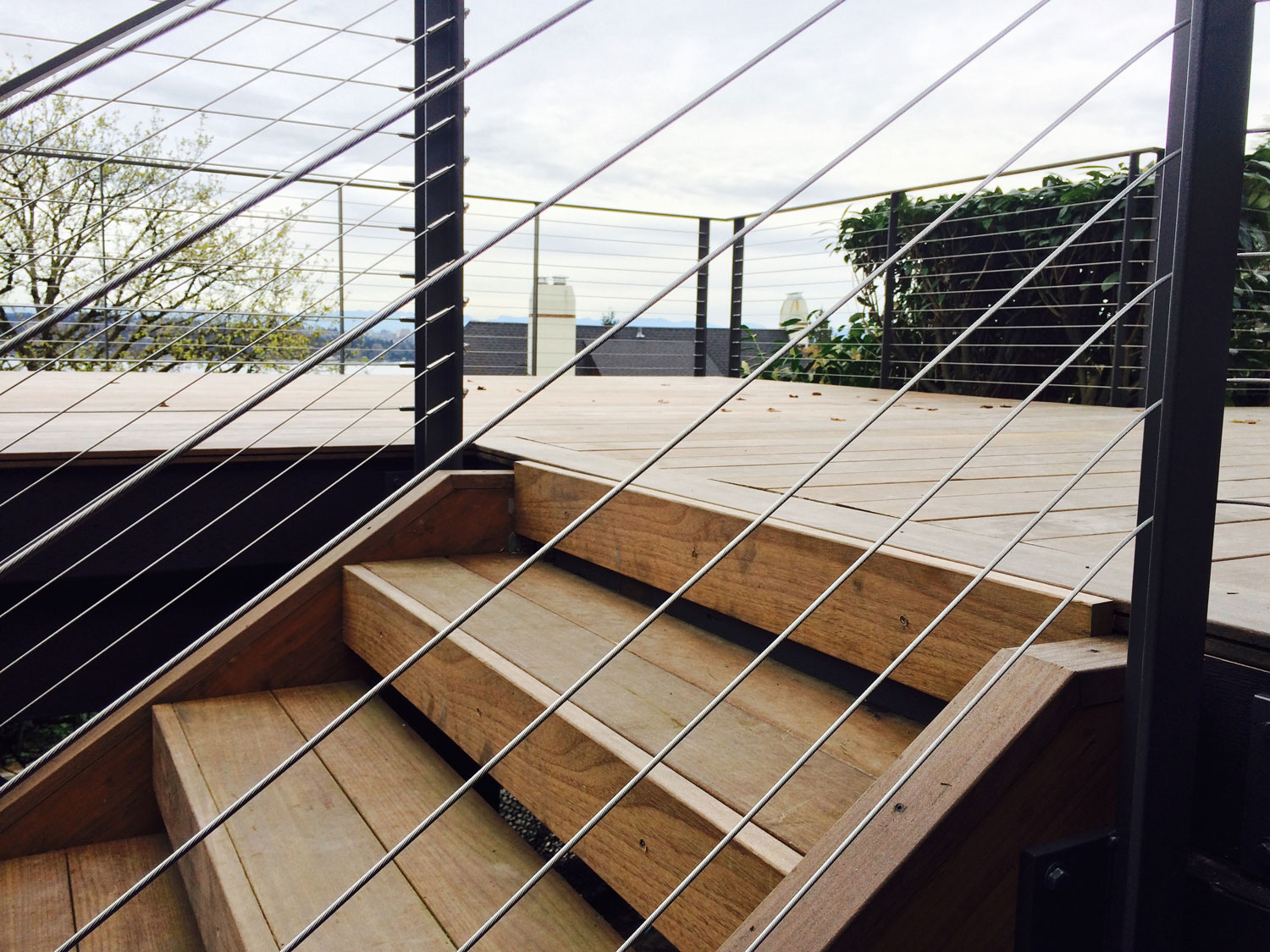 Cable Rail for Large Deck - Close Up of Stairs - Seattle, WA