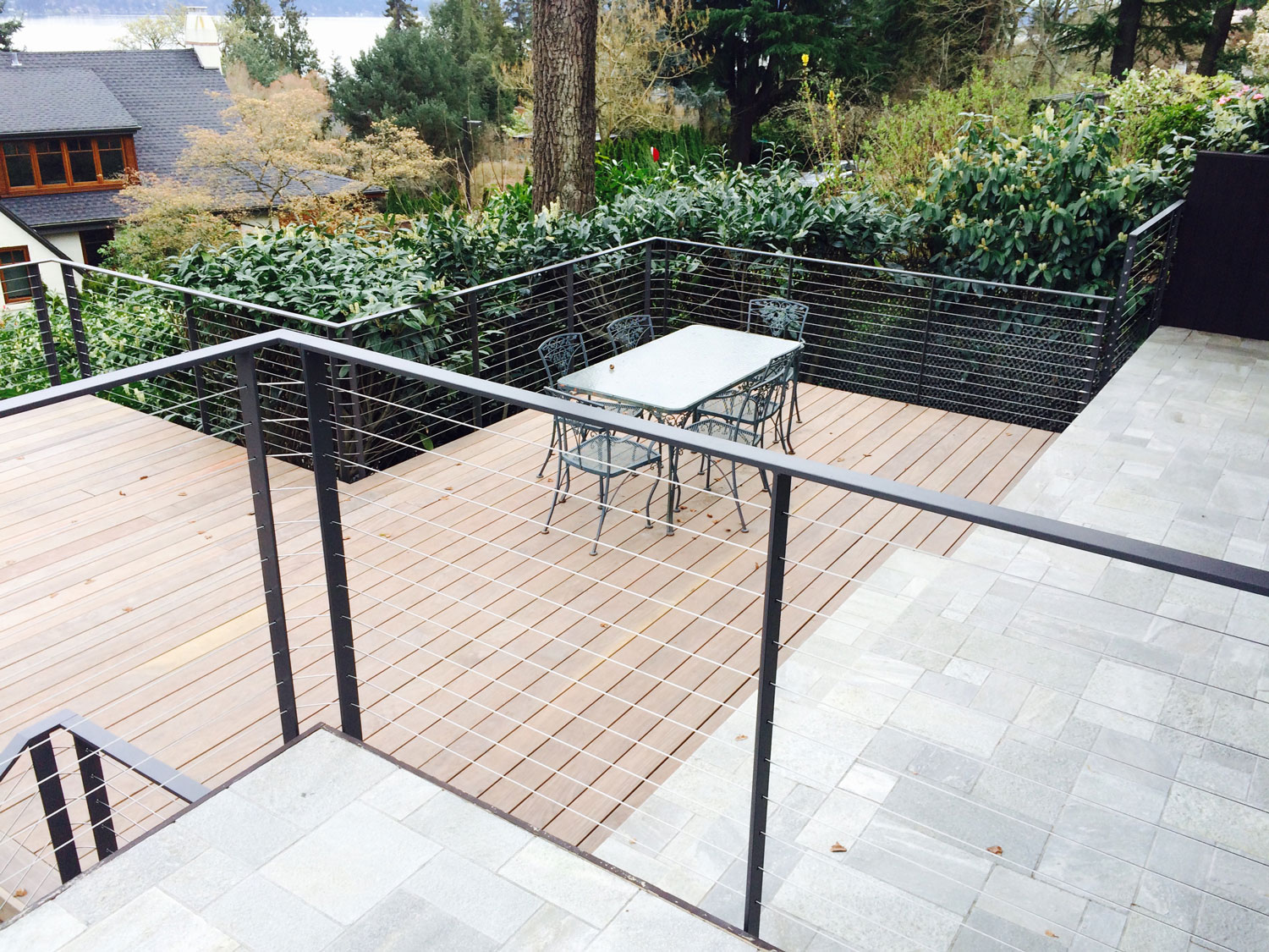 Cable Rail for Large Deck - Dining Area - Seattle, WA